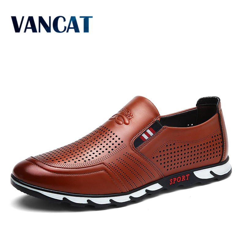 VANCAT Spring And Autumn Slip On Mens Loafers Fashion Breathable Men Casual Leather Shoes Brand Designers  Moccasins Men Shoe spring high quality genuine leather dress shoes fashion men loafers slip on breathable driving shoes casual moccasins boat shoes