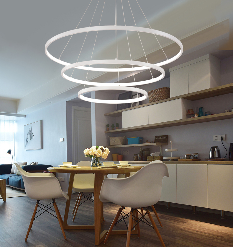 HTB1nX sAf5TBuNjSspmq6yDRVXaY 60CM 80CM 100CM Modern Pendant Lights For Living Room Dining Room Circle Rings Acrylic Aluminum Body LED Ceiling Lamp Fixtures