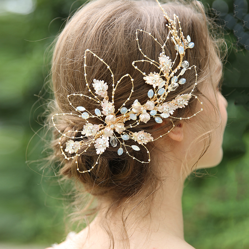 Barrettes de cheveux en or de luxe reine bâtons de cheveux cristal fleur bijoux de cheveux cadeaux de Festival épingles à cheveux de mariée accessoires de mariage