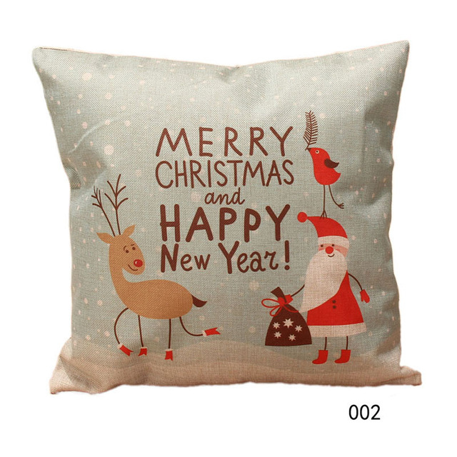 1 pcs Pillow Cover Christmas Pattern Throw Pillow Case Home Decorative Cotton Linen Pillow Case Cover
