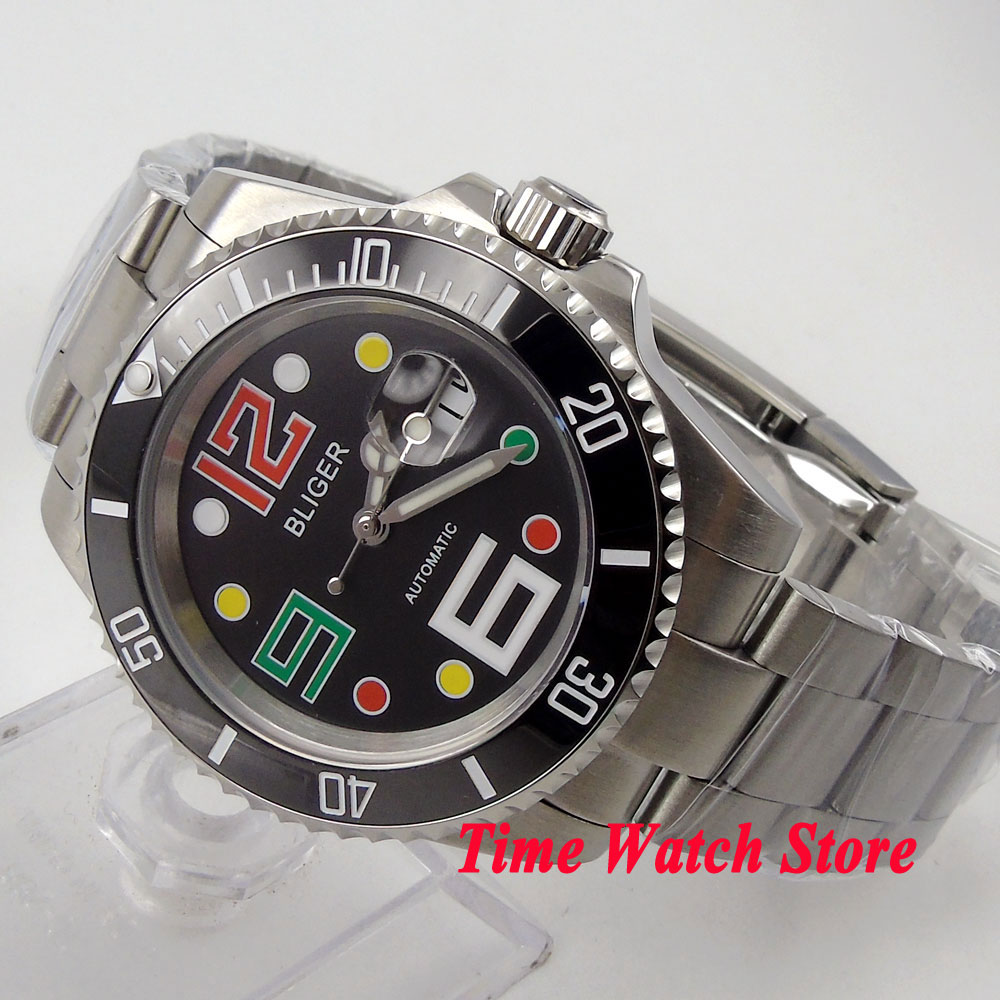 Bliger 40mm black dial date colorful marks saphire glass black Ceramic Bezel SUB Automatic movement Men's watch цена и фото