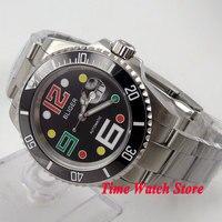 Bliger 40mm siyah kadran tarihi renkli işaretleri safir cam siyah Seramik Bezel ALT Otomatik hareketi erkek saati