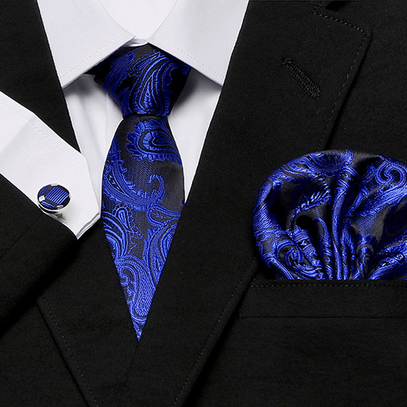 Men`s Classic Tie 100% Silk Novelty Geometric Paisley 30 Styles Hanky Cufflinks Sets For Wedding Business Party