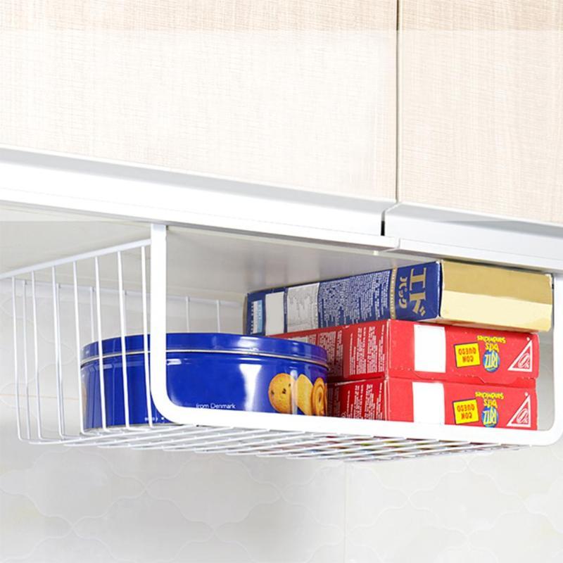 Armario colgando en estante de almacenamiento de malla de hierro cesta de la puerta del gabinete de organizador de armario de soportes de cesta de almacenamiento Rack organizador