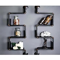 TOPOWER Home Decor Industrial Furniture Retro Style DIY Pipe Shelf Wall Mount Bookshelf Storage 1 pair