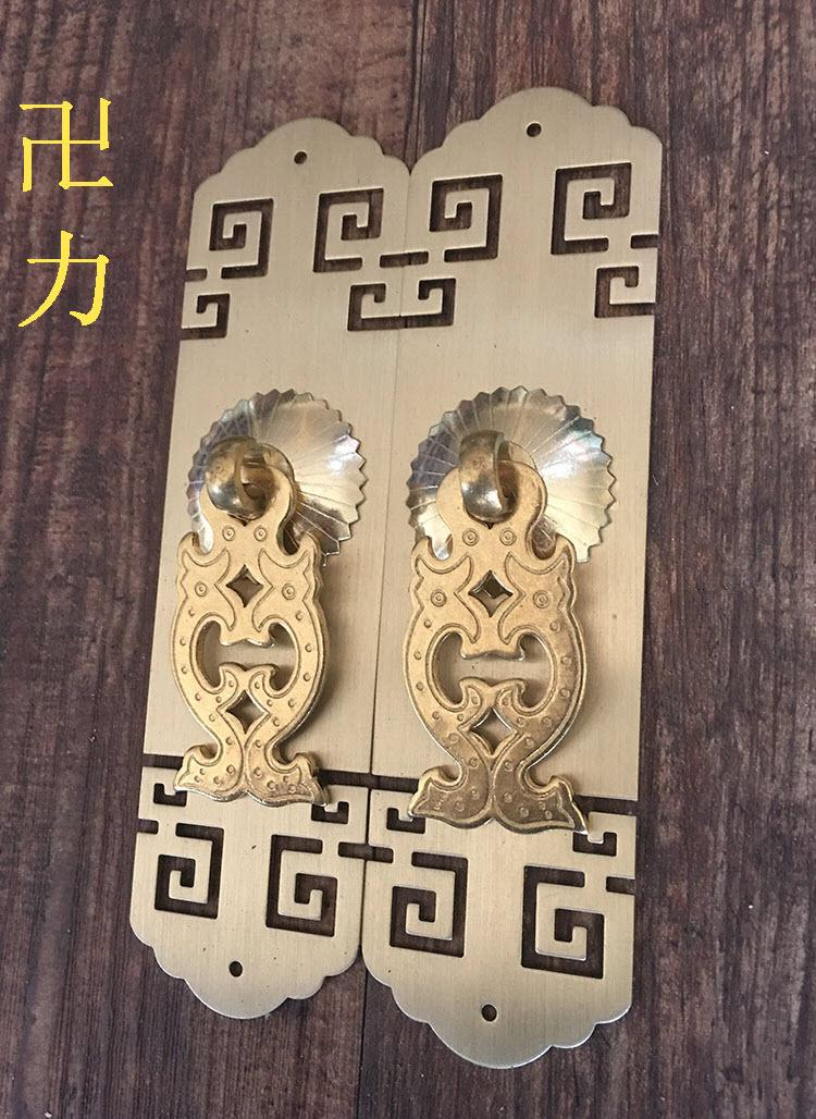 Swastika force Chinese antique Ming and Qing antique copper door lock handle HTT-317 paper handle fastnet force 10 rei paper only