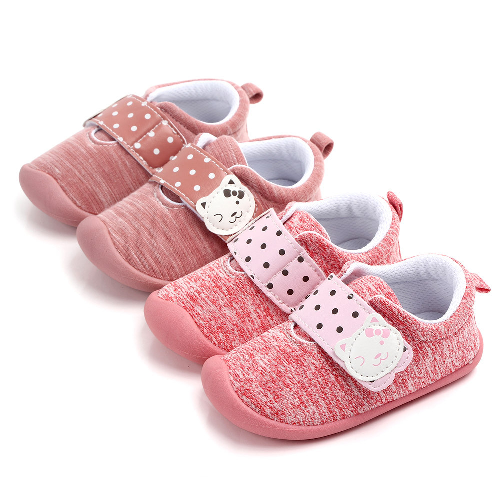 2020 New Hot Cute Fashion Pink Cat Pattern Hook&Loop Soft Sole 0-2Y Baby Girs Shoes First Walker Shoes  Moccasi For Party