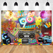 Mehofoto 90er Partei Hintergrund Graffiti Hüfte Pop Neon Glow 90s Hintergrund Graffiti-Wand Musik 90th Themed Party Banner Dekoration(China)