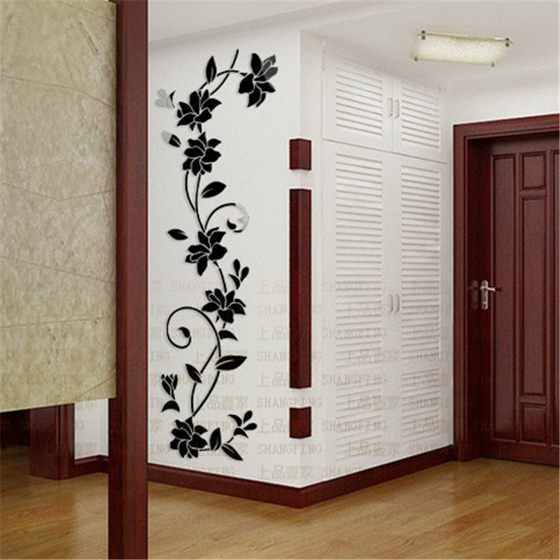 Roses Flower Vine Entrance Hallway TV Backdrop Sticker Modern 3D Crystal  Decorative Wall Stickers Living Room Wall Hangings Gift