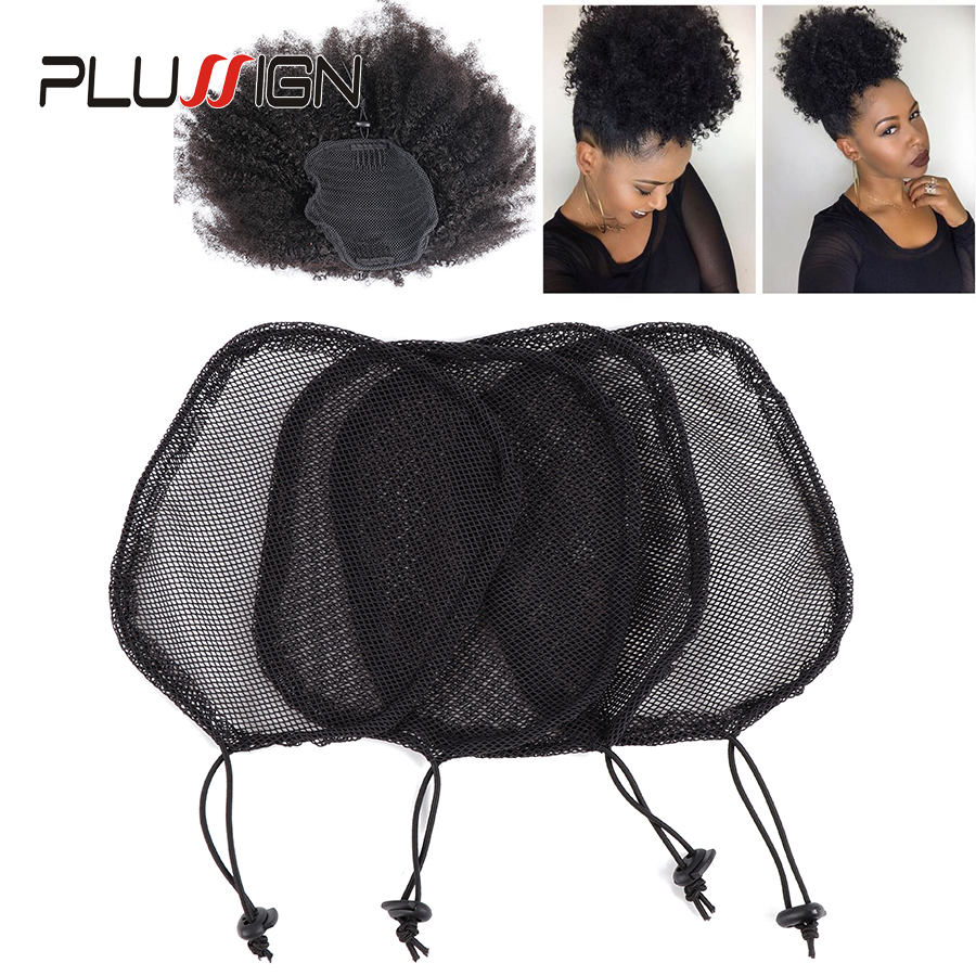Plussign Wig Caps For Making Ponytail Black Color High 2019 Net Guleless Hairnet Hair Bun Net For Women 1Pcs Ponytail Net