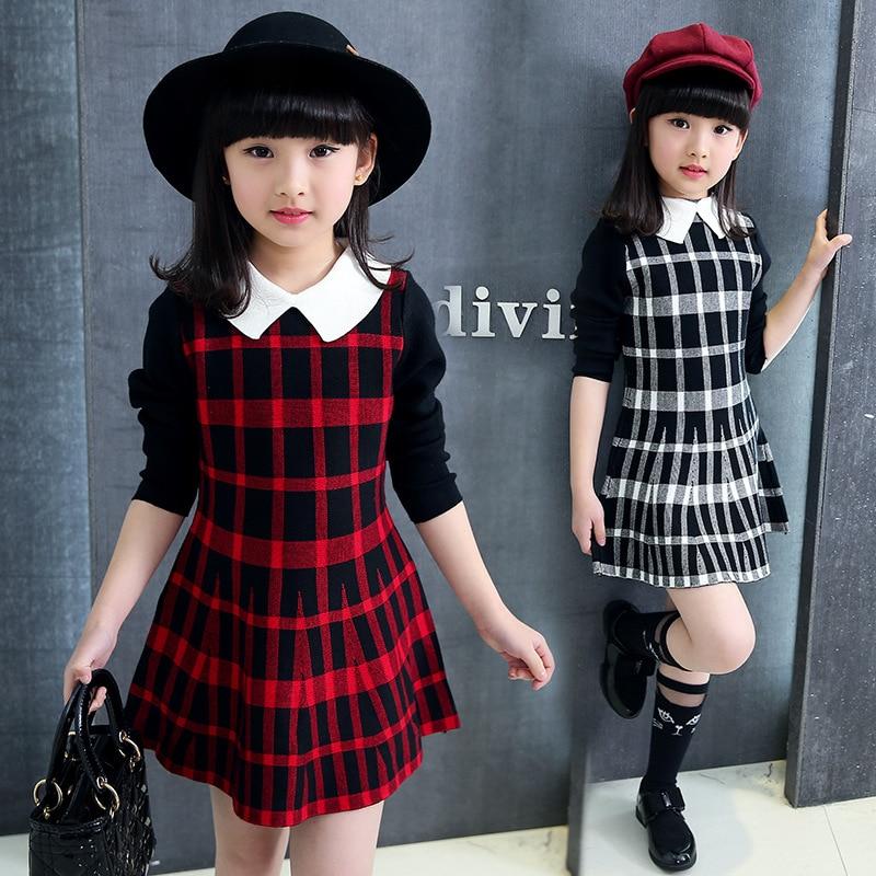 Baby Girls Dress Long Sleeve Dress Kids Winter Dresses for Girls Costume Princess Christmas Plaid Dress Children Clothes