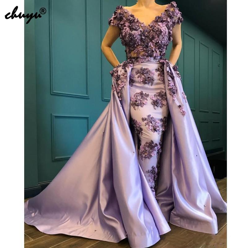 Weddings & Events Lilac Muslim Evening Dress Satin Detachable Train Lace Handmade Flowers Saudi Kaftan Dubai Evening Party Gowns Prom Dress Custom Special Summer Sale