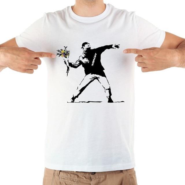 banksy graffiti art Love is in the Air tshirt men jollypeach Brand new white short sleeve casual homme FLOWER BOMBER t shirt
