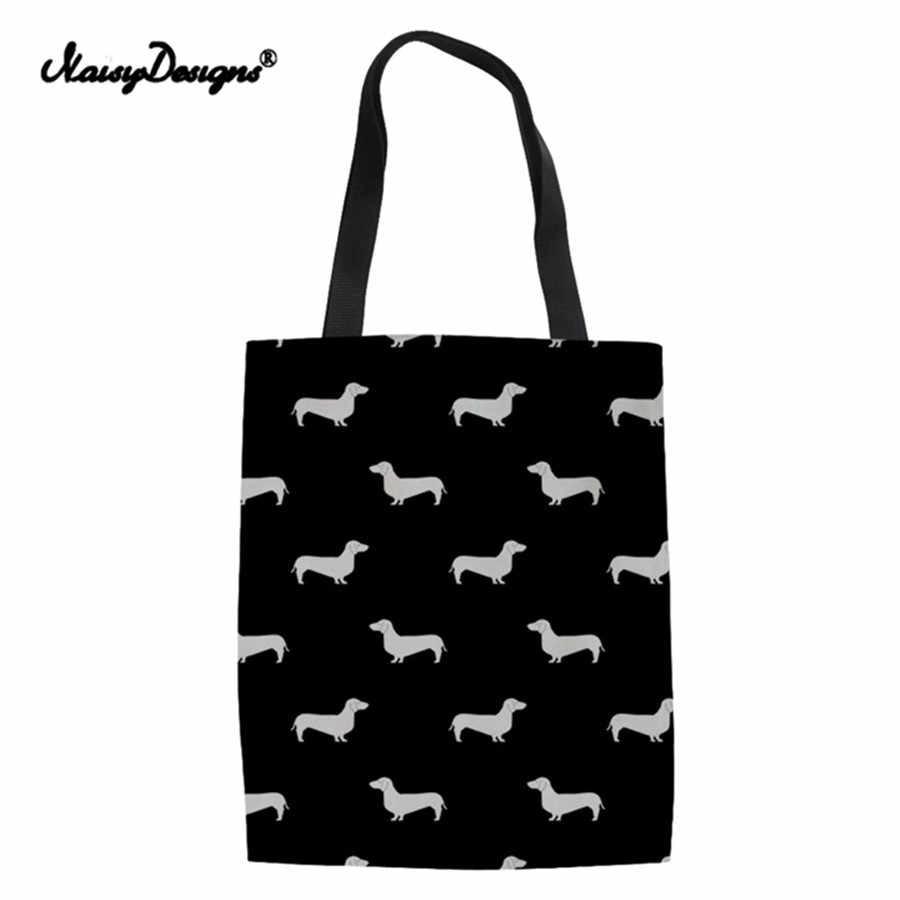 Doxie teckel conception toile fourre-tout femmes grands sacs à provisions pliants pour les femmes mode poignée sac à bandoulière réutilisable