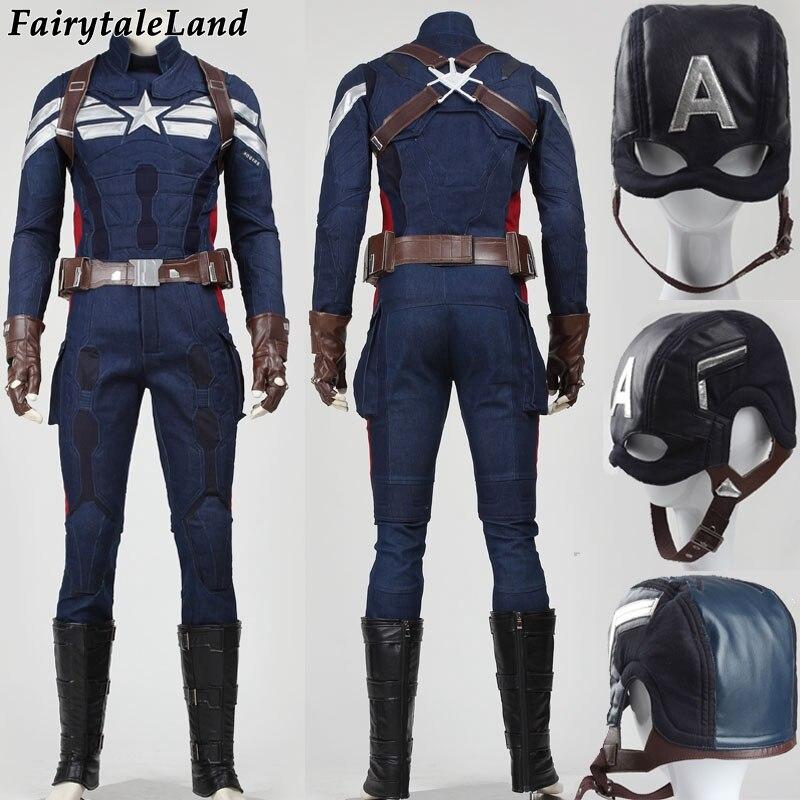 Costumi Di Halloween Per Adulti Captain America 2 The Winter Soldier Cosplay Costume Da Supereroe Captain America Costume Adulto Steve Suit Facile Da Riparare