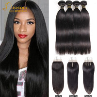 Joedir Brazilian Straight Hair 2 3 4 Bundles Deal With Closure Cheap Human Hair Weave Bundles With Lace Closure Non Remy