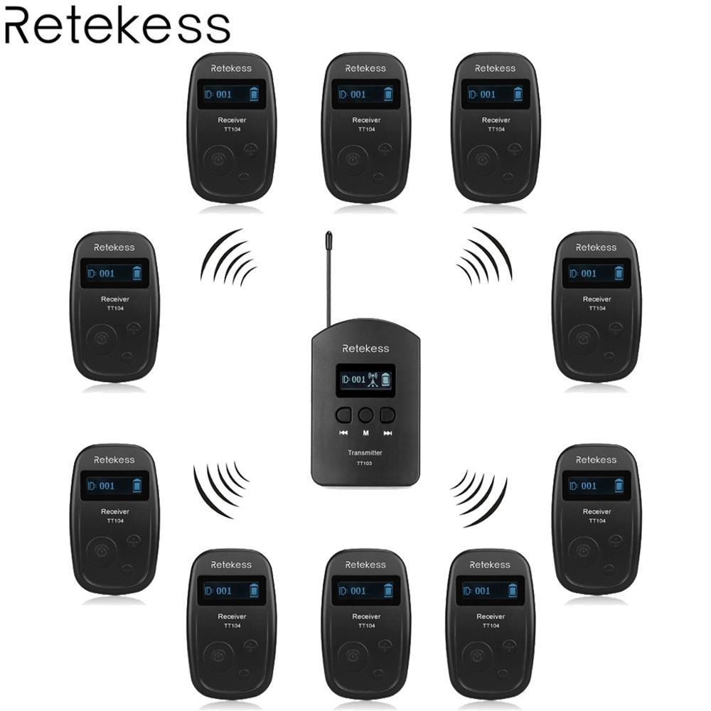 Wireless Tour Guide System 1 Transmitter + 10 Receiver TT104 For Church Listening Teaching Traveling Conference Interpretation