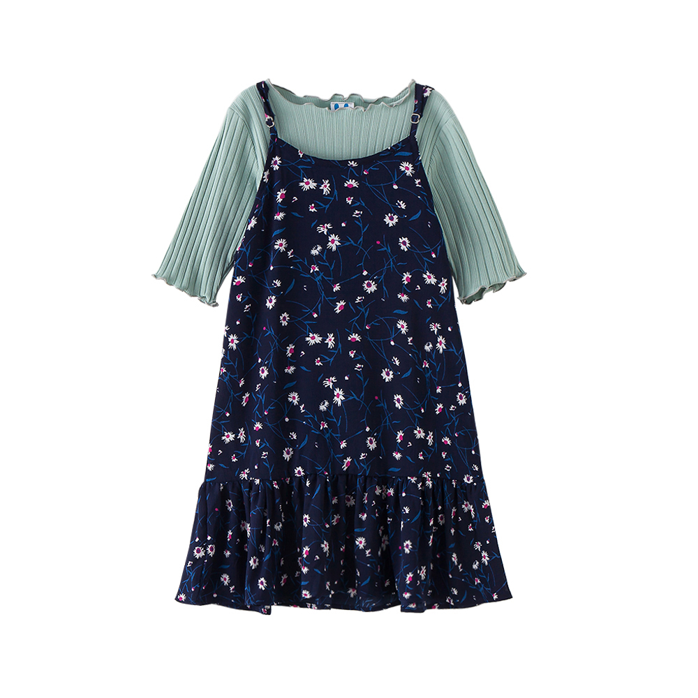 B-S105 New Fashion Summer Girls Casual Dress 5-13T Teenager Girls Floral Set Kids Short sleeve T-shirt+Skirt 2pcs Outfit Suit запонки arcadio rossi 2 b 1022 13 s