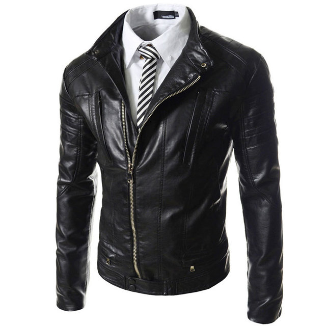 New Black Pu Leather Jacket Men 2015 Fashion Design Big Lapel Mens Slim Motorcycle Biker Jacket Jaqueta Couro Veste Cuir Homme
