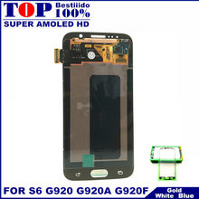 คุณภาพสูง Super AMOLED LCD สำหรับ Samsung Galaxy S6 G920 G920F LCD จอแสดงผล Touch Screen Digitizer Assembly Replacement(China)