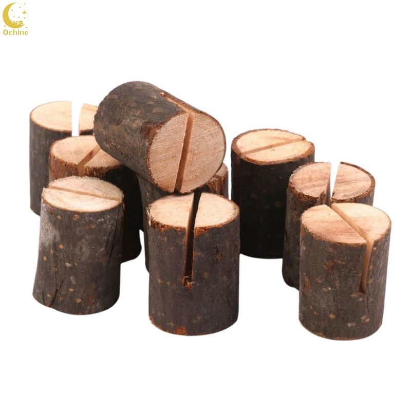 Us 3 09 20 Off Ochine 10pcs Wedding Decoration Wooden Diy Wedding Name Place Card Holders Stump Shape Stand Number Name Table Menu Holder In Party