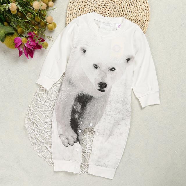 2017 Bonito Do Bebê Das Meninas Dos Meninos Recém-nascidos Crianças Infantil Urso Polar Macacão Bodysuit Playsuit Roupas Outfit Playsuit Branco 0-2 anos Terno