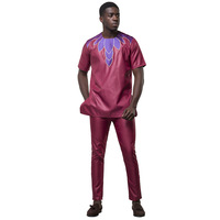 African Style Pattern Embroidery Craft bazin Clothing Round Neck Short Sleeved Shirt Slim Pants Two Piece african men suit