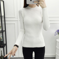 2017 Autumn Winter Women S Clothing Fashion Pullover High Elastic Slim Bottoming Knitted Sweaters Female All