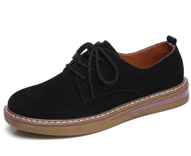Nieuwe Lederen Vrouwen Platte Schoenen Lace up Herfst Sneakers Oxford Schoenen Vrouwelijke Mocassins Casual Platte retro vrouwen schoenen