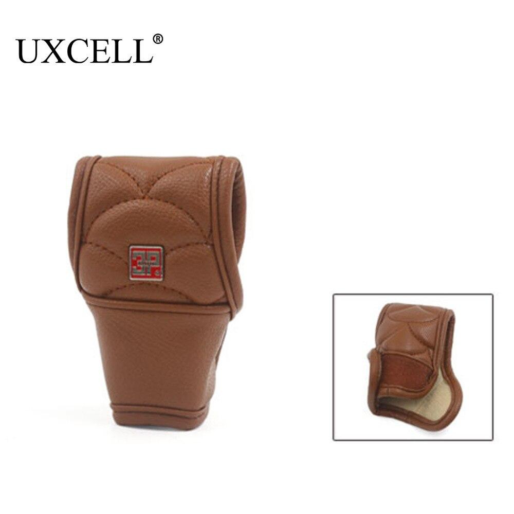 UXCELL Borwn, искусственная кожа, нескользящий чехол, защитный рукав для автомобиля, ручная Ручка переключения для большинства автомобилей, ручк...