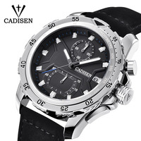 2018 Men Watch CADISEN Fashion Luxury Quartz Watch Sports Watch Waterproof Leather Automatic Date Men Watch Relogio Masculino