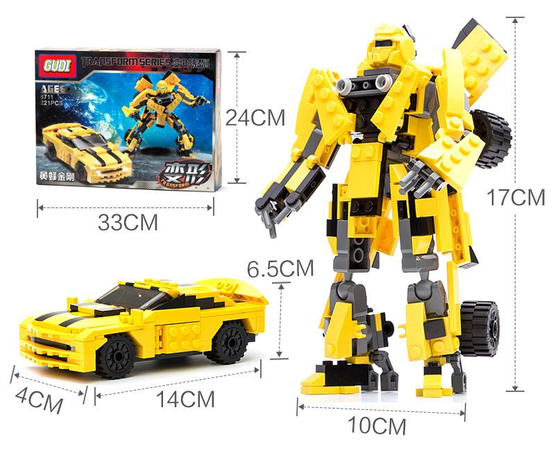 Gudi Building Blocks Movie Transfor Toy Robot Kids Toys Blebee 2in1 Autobot Model Emble Bricks In Kits From