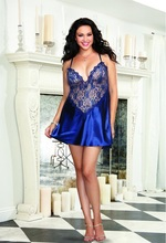 European and American black sexy chest wrapped babydoll backless women Transparent lace sexy lingerie sexy lingerie deep V low