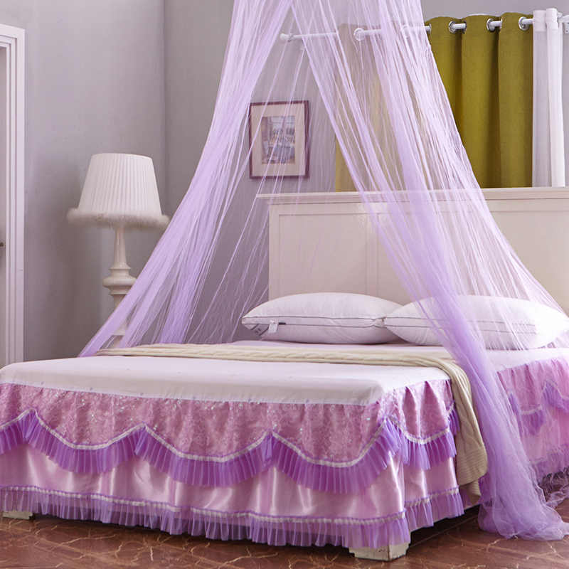 Princess Style Hung Mosquito Net Elegant Lace Insect Nets Round Bed Curtain Mesh For Adults Kids Canopy Bedding Tent Zanzariera