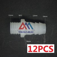 12 Pieces 10mm M12 Straight Connector Plastic Pipe Fitting Barbed With Thread Material PE Joiner Fitting