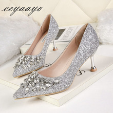 2019 New Spring/Autumn Women Pumps High Thin Heel Pointed Toe Bling Crystal Bridal Wedding Women Shoes Silver Female High Heels bigtree new wedding shoes high heels gold silver women pumps 2018 special sequins stable thick heel pointed toe female size34 39