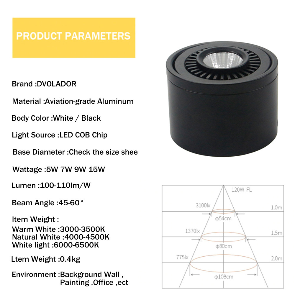 HTB1nXbuPjTpK1RjSZKPq6y3UpXaU LED Surface mounted Ceiling Light 5w 7w 9w 15w Dimmable Ceiling Lamp 360 degree rotatable COB background spot light For Home
