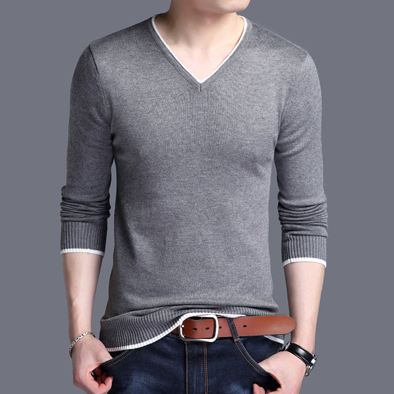 New Fashion Casual Solid V Neck Long Sleeve Sweater Man Fashion Design Red Navy Blue Knitwear Mens Pullover Male