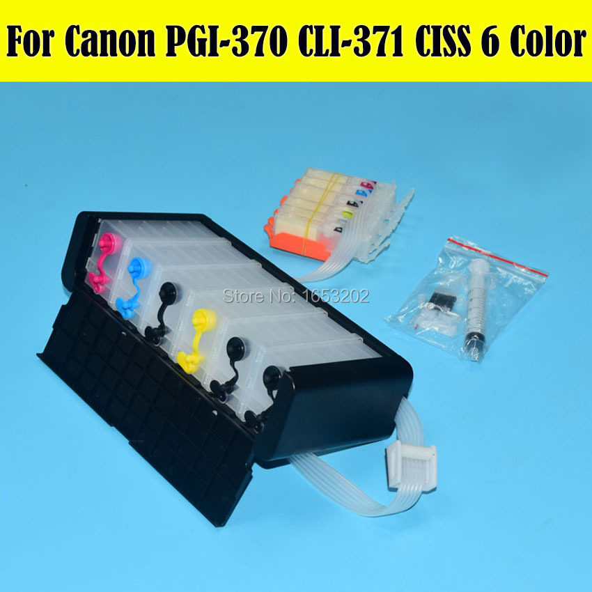 6 Color/Set PGI370 CLI371 Bulk Ink Supply System Ciss For Canon MG5730 MG6930 Printer Ciss With ARC Chip pgi750 cli751 ciss suit for canon ip7270 mg5470 mx927 mx727 printer empty ciss with permanent chip free shipping