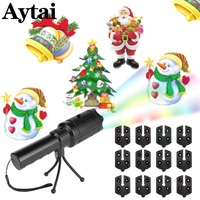Aytai 12 Cards Laser Lights Flash Light Lamp Laser Projector Lamps Indoor Outdoor Decoration Christmas Halloween Party Decor