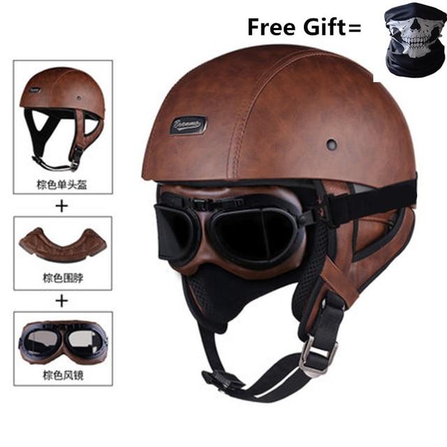 גולגולת כובע אופנוע קסדת בציר חצי פנים קסדת רטרו גרמנית סגנון ופר קרוזר