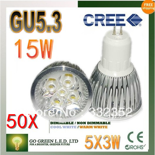 Free shipping 50XHigh-power CREE led bulb GU5.3 12W 15W AC85-265V Dimmable Warm/Pure/Cool white led Spotlight led lamp led