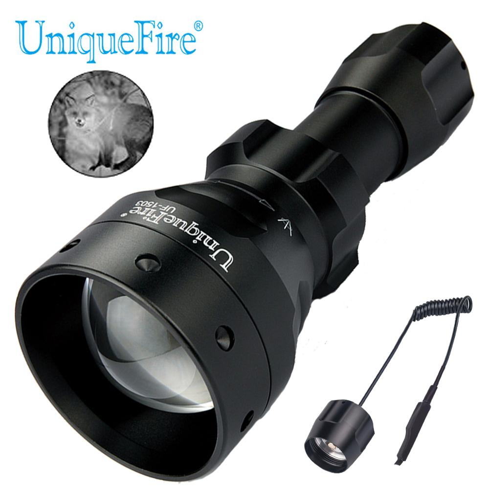 UniqueFire 1503 IR 850nm Zoomable LED Flashlight 3 Modes Torch with Remote Pressure Switch Used With