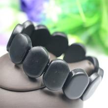 LNRRABC Hot 1pc Natural Black Bian Stone Bracelet Carve Bianshi Jewelry For Women and Men