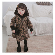 Hot Selling Winter girls fashion leopard print fleece thicken princess dresses kids warm all-match A-Line dress baby clothes