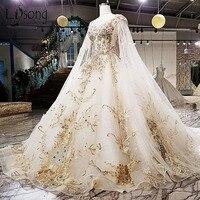 Gorgeous Embroidery Wedding Dresses 2018 Cloak Appliques Rhinestone Bridal Gowns Royal Train Illusion Back Vestidos De Noiva