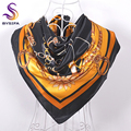 Black Gold Square Scarves Wraps Printed New Apparel Accessories Ladies Chain Floral Silk Scarf Shawl 90*90cm