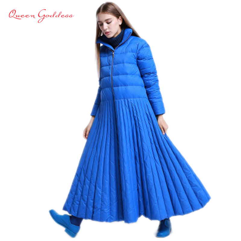 2018 autumn and winter Skirt style long down women jacket special Design coat Blue plus size