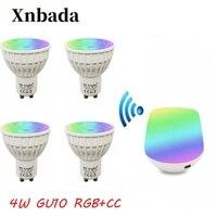 MiLight Led Lamp 4W RGB+CCT Gu10 led bulb+IBX1(USB)RF Remote wifi Led Spotlight Light Dimmable Led light AC85 265V Free Shipping