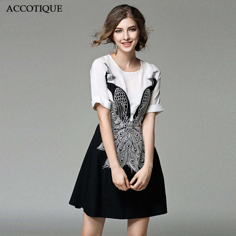 Peacock Embroidery Women s Spring Summer White Black Patchwork Dress Female Fashion Short Sleeve Slim Casual